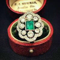 Vintage Retro Antique Art Deco Engagement Cluster Ring 14k Gold Over 3Ct Emerald