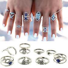 8pcs Ring Set Punk Vintage Bohemia Turquoise Steam Blue Midi Knuckle Women Rings