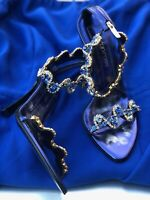 SERGIO ROSSI Leather Crystal Embellishment Sandals- Size 36/6(US)