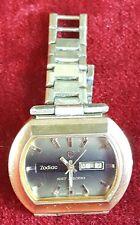 Bracelet watch. 36000. zodiac sst steel box gold plating' . circa 1970.