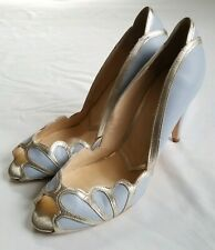 BHLDN Rachel Simpson Isabelle Ice Blue Scalloped Heels Womens 41 New
