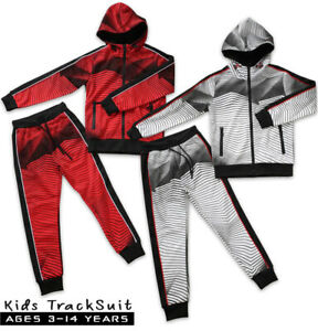 Boys Tracksuit Junior Kids Aztec Style Hooded Jogging Bottoms And Hoodie 2 Color