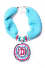 Cerulean Blue Fabric Necklace Diamante Beaded Turquoise&Magenta Pink Plate(T574)