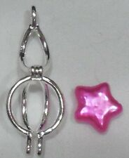 """Pearl Necklace Pink Star Pearl in SP Open Round Lantern Cage/20"""" SS Chain/NEW"""