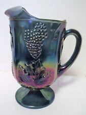 Carnival Glass Pitcher Blue Iridescent Grape Pattern