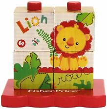 Fisher Price - Colourful Stacking Wooden Block Puzzle - 4 Pieces - Toddlers Toy