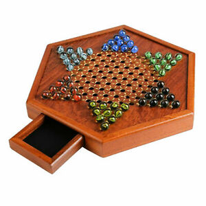"""Wooden Chinese Checkers 12""""  Classic Board Game Set w/ Drawers & Glass Marbles"""