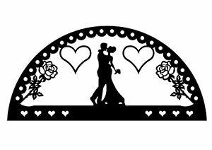 Edelstahlschwibbogen für Außen (einfach) Motiv Hochzeit mit Rosen