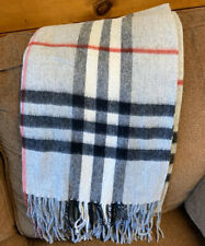 "Very soft wool throw blanket Gray And White, Red And Black Accent 60""x53""."