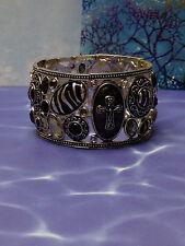 Silver & Black Cross Stretch Bracelet Pretty Crystal Stones  Fashion Jewelry NEW