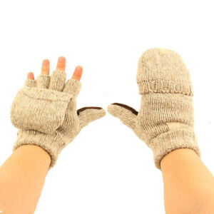Men's Thinsulate 3M Thick Wool Knitted Half Mitten Suede Palm Gloves Beige S/M