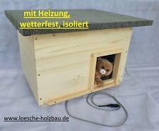 Katzenhaus mit Heizung Lasur natur wetterfest isoliert Katzenhütte beheizt