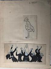 Henri AVELOT (1873-1934/35) Lot de 2 Dessins originaux Encre