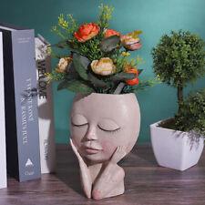 Art Portrait Flower Pot Vase Sculpture Resin Human Face 3D Flower Pot Home Decor