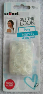 75 Scunci Clear Poly Bands No Metal Ouchless Elastics Ponytailer Hair Bands Hold