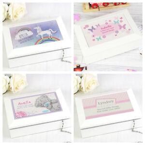 Personalised Children's Wooden Girls Jewellery Box, Unicorn Butterfly Birthday