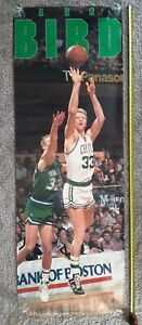 "1988 Larry Bird OVERSIZED LIFE SIZE Poster Costacos 74""x 26"" Boston Celtics VTG"