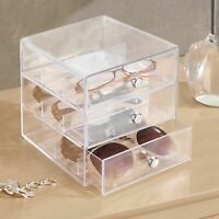 mDesign Plastic Glasses Storage Organizer Box, 3 Drawers