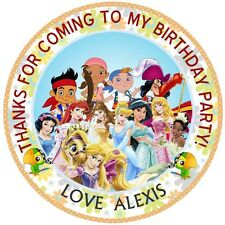 """30 xPersonalised  Princess & pirates 50mm 2"""" Party Stickers thank you labels"""
