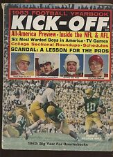 1963 Kick-Off Football Magazine With Roger Staubach Cover VG