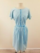 50's/60's Vintage Women's Turquoise Stripe Dress - VOLUP - XL -40-32-54
