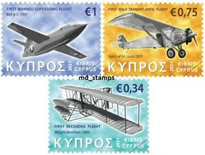 Cyprus 2021 Set of 3 stamps Airplanes Aviation History MNH