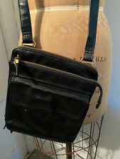 Relic Fossil Black Leather Messenger Small Compartment Crossbody Bag