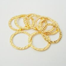 Connector Link Flat Round  Hammered Gold Plated Double Sided- 10pcs.