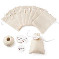 30pcs White Wedding Favors Burlap Gift Pouches Jewelry Bag Drawstring Sack 5.5''
