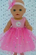 "Play n Wear Doll Clothes To Fit 17"" Baby Born PINK SEQUIN DRESS~HEADBAND"