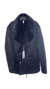Zara Mens Black Faux Suede Coat XL BNWT