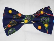 (1) Lacrosse Pre-tied Bow tie - Colorful Lacrosse Sticks & Balls on Navy Blue