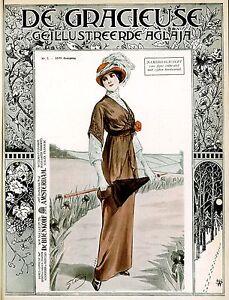 Art Fashion Prints Edwardian ladies dress and hat fashion posters 10 x 8