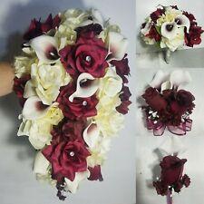 Burgundy Ivory Rose Calla Lily Bridal Wedding Bouquet & Boutonniere