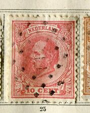 NETHERLANDS;   1872 early classic William issue used 10c. value