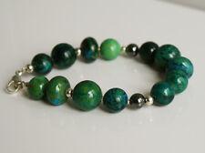 Handcrafted Green Azurite Hematite Genuine Semi-precious Gemstone Bracelet Gif