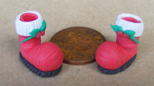 1:12 Scale Pair Of Red & White Hollow Ornamental Boots Dolls House Miniature