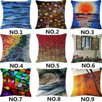 18'' Abstraction Sofa Pillow Case Cotton Linen Throw Cushion Cover Home Decor