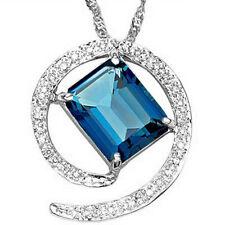 3.03 CTW  CREATED LONDON BLUE TOPAZ & DIAMOND 925 STERLING SILVER PENDANT
