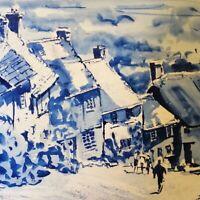 "ORIGINAL painting Gold Hill Shaftesbury Dorset blue 15"" x 11""  Marilyn Allis"