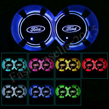 2x for Ford LED Car Cup Holder Pad Mat Auto Interior Atmosphere Lights Colorful