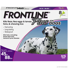 (New) Frontline Plus for Large Dog (45-88 lbs) Flea and Tick Treatment, 8 Doses
