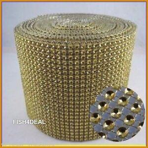 8 and 16  Rows GOLD Rhinestone effect Mesh Ribbon Trim Decoration Ribbon-9 yard