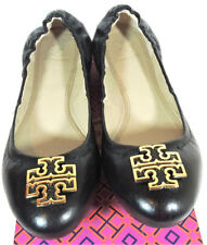 926e2f4ba Tory Burch Melinda Ballerina Flats Black Leather Gold Logo Ballet Shoe 8 -  38