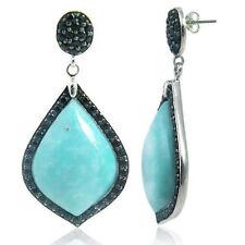 Sterling Silver Stud Earrings Free Shape Stabilized Turquoise Black Spinel
