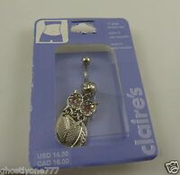 Owl dangle feathers belly button navel ring piercing naval crystals pink eyes