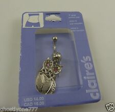 ring piercing naval crystals pink eyes Owl dangle feathers belly button navel