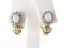 14k Yellow Gold Diamond And Opal Earrings