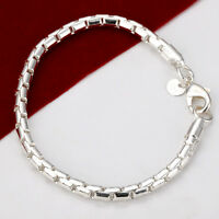 Brand New 925 Sterling Silver Filled Classic 4MM Chain Bracelet