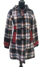 HONEE Toggle Womens Car Coat Quilted Jacket Plaid With Hood Size Medium
